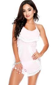 Light Pink Romper Sexy Light Pink Sleeveless Crochet Trim Summer Romper
