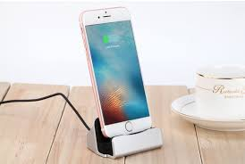 8 pin desktop stand charging dock for iphone silver