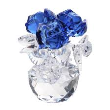 new crystal cut glass flower figurines rose living room wedding gift ornaments blue intl
