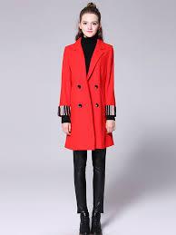 striped long sleeves double ted dd long women wool pea coat