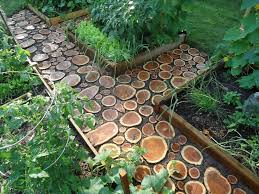 cool diy garden path ideas wood log path