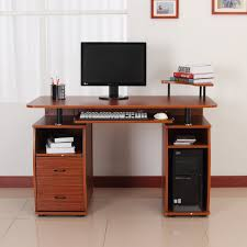 home office table. HOMCOM Wooden Computer Desk Study Table PC Desktop With Print Shelf Home Office Furniture W