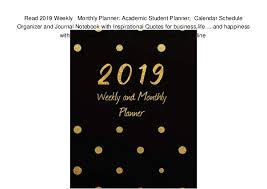 Free Online Monthly Planner Read 2019 Weekly Monthly Planner Academic Student Planner