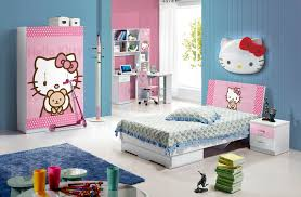 normal kids bedroom. Bed Room Sets For Kids Hello Kitty Character Pink Polkadot Combine Blue Wallpaper Bunk Normal Bedroom
