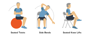 seated twists side bends knee lifts