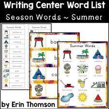 Summer Word List Writing Center Word List Season Words Summer