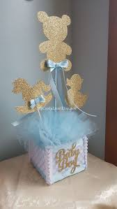Boy Baby Shower Centerpiece/Gold and Baby Blue Baby Shower
