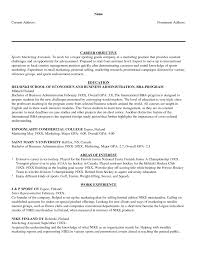 Objective Of Resume Examples For Sports Career Objectives In