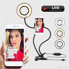 Ring Light For Iphone Xr 2019 Selfie Ring Light With Cell Phone Holder Stand For Fb Live Stream Makeup Led Camera Light With Flexible Long Arms For Android Iphone 8 Xr Xs From