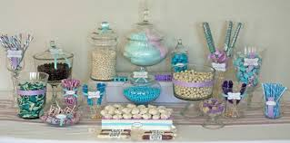 blue purple and white candy buffet