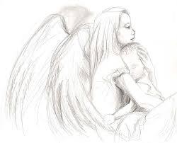 Angel Sketch Guardian Angel Cuddling Baby Angel Sketch Angel Drawing