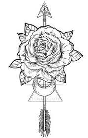 Fototapeta Blackwork Tetování Flash Rose Květina šipka A Měsíc Vysoce