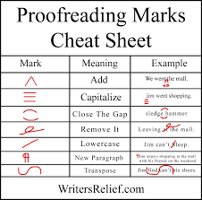 Proofreading Marks Chart The Of Master Proofer Write Anchor