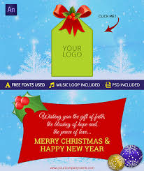 Merry Christmas Happy New Year Greeting Card By Themesloud
