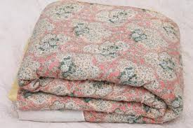 antique & vintage quilts & quilt tops & vintage hand-tied quilt comforter, shabby chic floral puffy wool filled  eiderdown Adamdwight.com