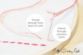 pretty quirky pants how to embroidery back stitch th your needle through the back of your work again then th it through the previous stitch hole as shown above hence the back stitch