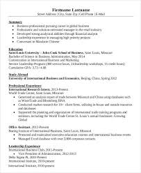 International Business Resume