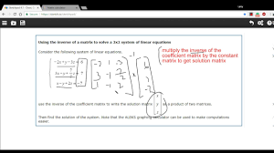 using the inverse of a matrix to solve a 3 by 3 system of linear equations