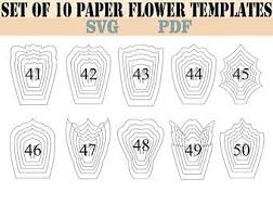 Free Paper Flower Templates Printable Paper Flower Template Etsy