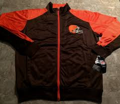 Details About Cleveland Browns Full Zip Track Jacket Medium Tall Brown Two Sided Logos Nfl