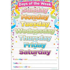 Days Of The Week Chart Smart Poly Confetti Days Of The Week Chart 10ct