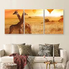<b>Laeacco 3 Panel</b> Canvas Calligraphy Painting Animal Sunrise Wall ...