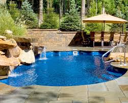 in ground pools with waterfalls. Fiberglass Pool With Waterfall In Ground Pools Waterfalls