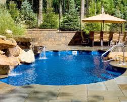 fiberglass pool with waterfall