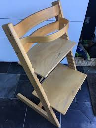stokke tripp trapp wooden high chair with baby seat good condition