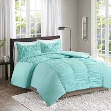 comfort spaces montana duvet cover mini set 3 piece aqua ruched pattern