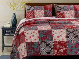 red brown blue white patchwork bedding fl quilt set twin full queen king elegant bedspread