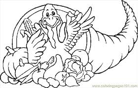45845 Cornucopia Turkey On Cornucopia Coloring Page Coloring Pages