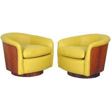 photo 1 of 10 rare rosewood wrapped swivel tub chairs in leather by milo baughman 1970s 1 leather