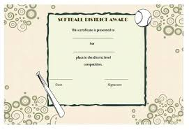 Certificate Of Birth Template Mesmerizing Professional And Free Softball Certificate Templates Suitable For