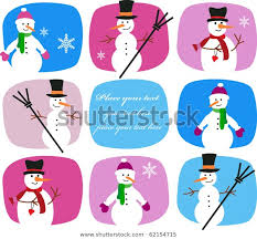 Collection Snowmen On Colorful Background Stock Image