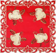 <b>Салфетка Santalino Колокольчики</b> на красном, 829-136, 35 х 35 см