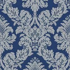 Glitter Damask Wallpaper Blue / Silver ...
