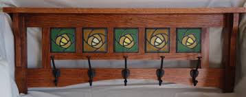 Craftsman Coat Rack Handmade Mission style coat rack with Art tile 2