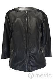 contrast pu leather jacket