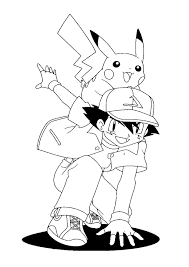 Small Picture Pikachu And Ash Pokemon Coloring Page Ash Pokemon Boys Coloring