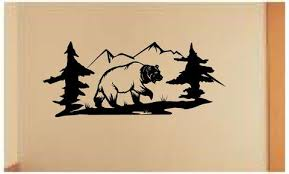 mountain bear wall decals mural home decor vinyl stickers decorate your bedroom nursery on bear wall art nursery with mountain bear wall decals mural home decor vinyl stickers decorate