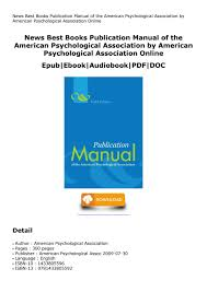 Publication Manual Of The American Psychological Association By