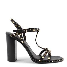 ash lips studded heeled sandals black leather