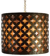 luxe fl fretwork capiz shell drum pendant light round hanging shade gold