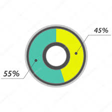 45 Percent Pie Chart Green And Yellow Vector Infographics