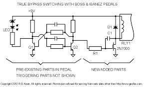 true bypass latching relays more info about this particular schematic here diystompboxes com smfforum index php topic 86288 0