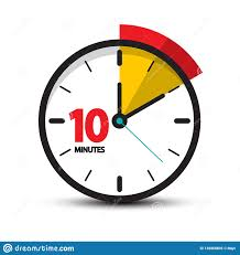 10 Minuite Timer 10 Minutes Clock Face Vector Ten Minute Icon Stock Vector