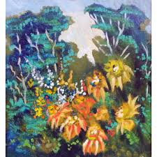 in the woods woods flowers oil painting with flowers oil painting