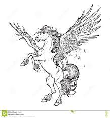 эскиз зверя пегаса сверхестественный на белой предпосылке