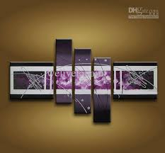 framed 5 panel large purple wall art abstract oil painting on canvas modern picture panel art panel art purple wall art abstract oil painting with